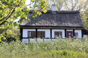 35283465 - idyllic country cottage with spring meadow on bornholm, denmark